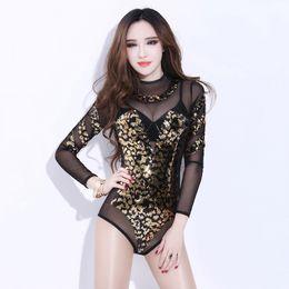 Trajes de cantantes online-Sexy Dance Costume Bodysuit Ladies Female Cantante Stage Nightclub DS Outfit Performance Jazz Dancewear Traje Holográfico DL2293