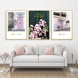 2019 flor rosa posters Romántica Rose Flower Poster Cuadros Nordic Pink Poster Wall Art Canvas Painting Imagen Wall Pictures For Living Room Sin Marco flor rosa posters baratos