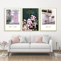 2019 rosa blumenplakate Romantische Rose Blume Poster Cuadros Nordic Rosa Poster Wandkunst Leinwand Gemälde Bild Wandbilder für Wohnzimmer Ungerahmt günstig rosa blumenplakate