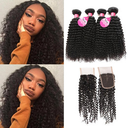Wholesale Cheap Virgin Brazilian Hair Closures - Meetu 8A Mink Brazilian Curly Virgin Hair 4 Bundles With Lace Closure Good Cheap Brazilian Kinky Curly Human Hair Weave Bundles With Closure