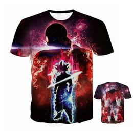 Costumi di dio online-Dragon Ball Super T-shirt Uomo 3D T-shirt Super Saiyan God Son Goku Abbigliamento JIREN Costumes Black Tops Tees