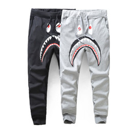 Wholesale loose sweatpants for men - Men Casual Fashion Sports Trousers For Running Tracksuit Bottoms Mens Joggers Shark Printed Pant Unisex Casual Sweatpants