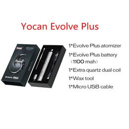 2019 câblage boîte noire Cigarettes électroniques Yocan Evolve Plus Kits de démarreur Embout de goutte à goutte noir Emballage de boîte de stylo Vape avec atomiseur Batterie 1100mah Câble USB Bobine double câblage boîte noire pas cher