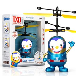 Wholesale wholesale drone copter - RC Drone Flying copter Ball Aircraft Helicopter Led Flashing Light Up Toys Induction Electric Toy sensor Kids Children Christmas DHL