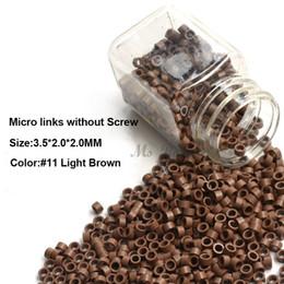 2019 микро-кольца бисер для наращивания волос Алюминиевые микро-связи 3.5*2.0*2.0 мм 1000 шт./бутылка темно-коричневый #3 микро кольца микро бусины для волос расширение горячей продажи дешево микро-кольца бисер для наращивания волос