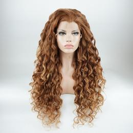 cheveux humains arc-en-ciel Promotion Iwona Cheveux longs bouclés bicolores Auburn Root Blonde Blond perruque 18