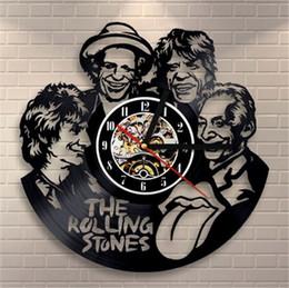 rolos de vinil para arte de parede Desconto Os Rolling Stones Elemento Criativo Vinyl Quartz Relógio De Parede Home Decor Sala Arte Da Parede (Tamanho: 12 polegadas, Cor: Preto)