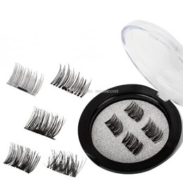 Wholesale full thick - 4 pcs pair Magnetic Eye Lashes 3D Mink Reusable False Magnet Eyelashes Extension 3d eyelash magnetic eyelashes eye make up dropshipping