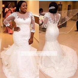 Wholesale long pleated skirt size 14 - Lace Plus Size Mermaid Wedding Dresses 2018 with 3 4 Long Sleeves African Wedding Gown Courtl Train White Tulle Bridal Gowns