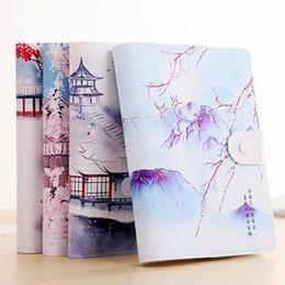 livros de bolso chineses Desconto Criativo Notebook Em Branco De Couro Chinês Do Vintage Cor De Papel Ilustração Fivela Magnética Nota de Viagem Livro Mini Cadernos De Bolso