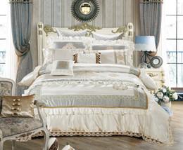 Wholesale Royal Duvet - Nature Silk Queen King Size White Luxury Royal Bedding set Duvet Cover Cotton Bed Spread Bedlinen 11Pcs Decorative pillow