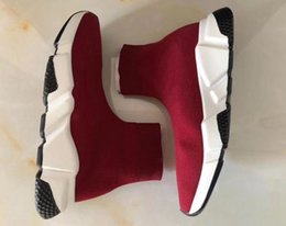 Wholesale Knitted Calf Boots - Men's Speed Mid Trainer Knit Sock Sneaker Running Shoes Red women sport shoes Fashion Knit Sock boots slip on boots