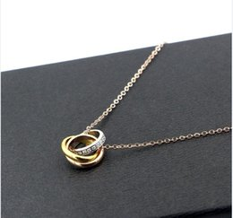 Wholesale Slide Cnc - CNC style 316L Titanium steel Necklace Pendant with three colors ring connect with diamond women Necklace Jewelry Free Shipping PS5076