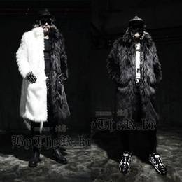 Wholesale Men Winter Jacket Fox - Men long faux fur coats Splice winter Fox fur Fashion thickening lapel Multi-size jackets Schwarzen Pelzmantel Free shipping