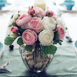 Wholesale Decorative Bouquets - 10pcs Real Touch Camellia Latex Artificial Flower Bouquets Home Wedding Bridal Decor Decorative Flowers & Wreaths