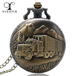 relógio de medalhão de quartzo Desconto Antigo Caminhão Padrão Relógio de Bolso De Quartzo Cadeia Colar Relógios para Homens Casuais Presentes Elegantes Masculino Relógio Reloj de Bolsillo