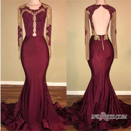 long silk empire prom dress Promo Codes - Burgundy Jewel Neck Sheer Long Sleeves Prom Dresses 2020 Sexy Open Back Lace Appliqued Formal Party Evening Gowns BA8439