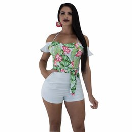 53a552451c85 S-XXL Ruffles Sashes Overalls Jumpsuits Outfit Slash Neck 2018 Summer women  playsuits casual sexy fashion Bandage rompers
