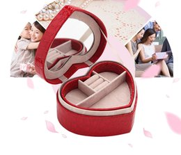 Wholesale Novelty Jewelry Boxes - Novelty Heart-Shaped Jewelry Boxes With Mirror Women's Leather Stud Earrings Gift Box 4 color Cosmetic Bags