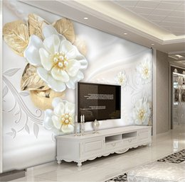 Flores de papel tapiz de la vida moderna online-Papel pintado personalizado de la foto para las paredes rollo 3D en relieve flor moderna sala de estar simple TV fondo Mural papeles de pared decoración para el hogar
