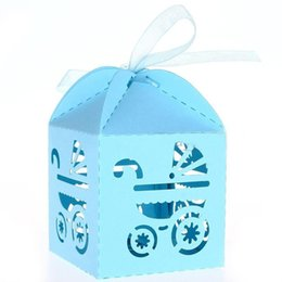 Wholesale blue gift wrap paper - 50pcs Carriage Pattern Paper Candy Sweets Gift Boxes Baby Shower Favors (Sky Blue)