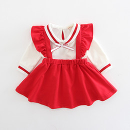 Wholesale Baby Shirt Straps - INS 2 color 2018 Korean style spring new fashion new arrivals Girls Baby strap lace skirt +cotton bowknot t shirt two sets free shipping