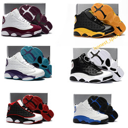 Wholesale Shoes Boy Yellow - Kids Air Retro 13 Grey Pink Black White Boys girls youth Basketball shoes Sports Training J13s Children Sneakers Size: US11C-3Y EU28-35