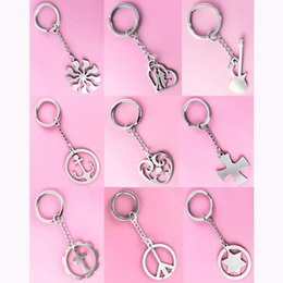 Wholesale Guitars Heart - Stainless Steel Key Chains & Pendant Mix 9 Styles Sun Love Heart Guitar Circle Cross Peace Star Key Rings Keychain Accessories New (JK025)