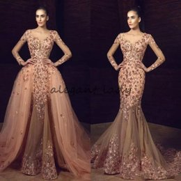 Wholesale Plus Size Sequined Jackets - Tony Chaaya 2018 Mermaid Overskirts Prom Dresses Long Sleeves Flower Embroidery Beaded Evening Gowns Sexy Plus Size Formal Dress