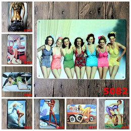 Wholesale Vintage Up Signs - Wall Decor Vintage Metal Painting Sexy Girl Skirt Blows Up Signs Tin Bar Poster Home Decor for Cafe Pub Restaurant Shop Size:20*30cm