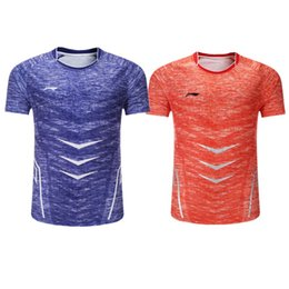 blue badminton t shirts Promo Codes - New men women Li-Ning badminton Shirt short sleeved clothes polyester quick drying competition tennis Jersey clothes table tennis T-Shirt