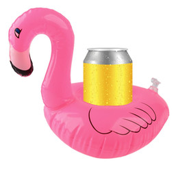 Wholesale Cell Phones Bottles - 2Pcs set Floating Mini Flamingo Pool Float Inflatable Bottle Holder Cell Phone Can Coke Cup Drink Holder Swimming