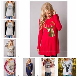 Argentina Camisetas de navidad Elk Navidad ciervos camisas mujeres carta de rayas Tops Tees Casual blusa de manga larga diseñador ropa mujer YL564 supplier elk shirt Suministro
