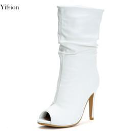 Yifsion новое прибытие женщины Летние сапоги стильные тонкие высокие каблуки Женские сапоги очарование Peep Toe Белый Повседневная обувь женщины США размер 4-15 от
