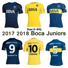 Wholesale Sizes Juniors - 2017 2018 Boca Juniors Jersey Home Away 3rd 17 18 GAGO OSVALDO CARLITOS Benedetto Cardona football shirts Size S-3XL