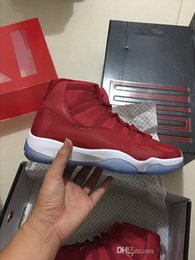 Wholesale Trainers Size 11 - Wholesale high quality Air Retro 11 XI high Gym Red White Men Basketball Shoes women Sports Sneakers new trainers with box size 5-13