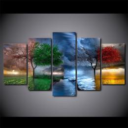 5 Pcs HD Impression Fantasy Nature 4 saisons arbre Photos Accueil Mur Art Décor Peintures Salon Film Toile Cadre Cadre ? partir de fabricateur