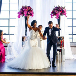 Wholesale Wedding Dresses Sweetheart Mermaid China - Modest 2018 mermiad wedding dresses long sweep tulle bridal dresses china sweetheart beaded bodice veatidos de novia
