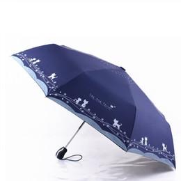 Regenschirm regen freies verschiffen online-Blumen und Katze Regenschirm Frauen Winddicht Ultraleicht Sun Rain Automatische Klappschirme Sonnenschirm Sonnenschirm Kostenloser Versand ZA6838