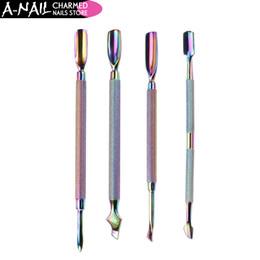 Empurrador de cutícula de aço inoxidável on-line-NOVA 4 Padrões de design Dual-ended Camaleão Nail Cuticle Empurrador Removedor Rainbow Manicure Aço Inoxidável para Unhas Ferramentas de Arte