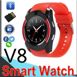 V8 SmartWatch Bluetooth Smartwatch Touch Screen relógio de pulso com câmera slot / cartão SIM, impermeável relógio inteligente DZ09 X6 VS M2 A1 de Fornecedores de relógio inteligente iso