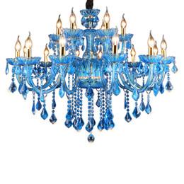 Gran araña de cristal vintage online-Candelabro de cristal vintage Azul cobalto Accesorio de iluminación Pavo grande Estilo lujoso Lustre de hierro forjado Colgante Lámparas de araña de cristal