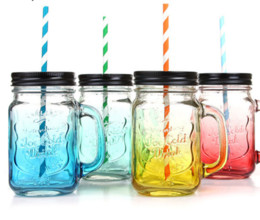 Wholesale Country Offices - Fruit Mason Jar Bottle Drink Infusion Colored Bar Coffee Water Bottl Office Lover Beer Wine Glass Jar With Handle Glass