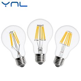 Wholesale Glass Bulb Shell - Antique Retro LED Filament Light lamp A60 E27 2W 4W 6W 8W 220V Clear Glass shell vintage led edison bulb for Vintage Chandelier