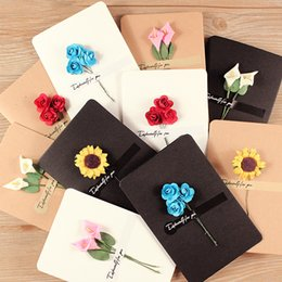 Hand-Made Christmas Festival Greeting Cards Dried Flower Decoration DIY Vintage Kraft Paper Thank You Cards Anniversary Birthday Card Simula