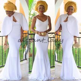 Weiße jacke abendkleider online-2018 Elegante nigerianische Abendkleider Weiß Frauen Meerjungfrau Kleid Mit Jacke Lange Vestidos De Festa Afrikanisches Abendkleid