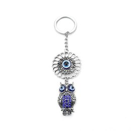 Wholesale Record Movies - 2017 new glazed Eye Pendant owl animal Keychain alloy Keychain