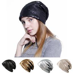 beanie magica Sconti Fashion Reversible Magic Sequin Beanie Hat 4 colori Mermaid Sequin Beanie Cappelli Skully Caps Donna Beanie Hats SS2