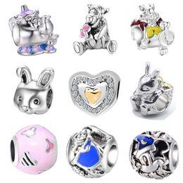 Wholesale bead bear - Free Shipping MOQ 20pcs Silver Bear Love Rabbit Teapot bead charms fit Original Pandora Bracelet Jewelry DIY N001