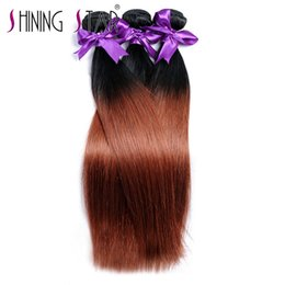 Wholesale remy 33 - Ombre 1b 33# Brazilian Straight Hair Weave 3 Bundle Deal Human Hair Bundles Shining Star None Remy Hair Extensions